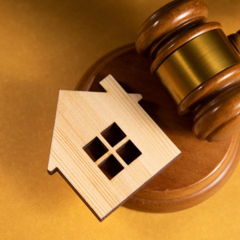 Judge Gavel And House Model. Estate Law Concept